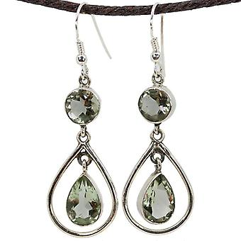 Round And Pear Shaped Prasiolite Danglers