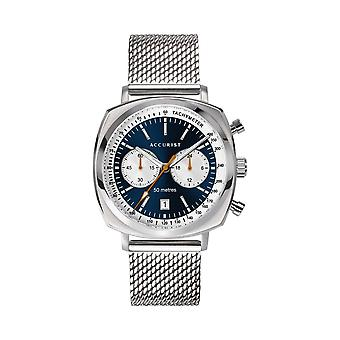 Accurist 7366 Retro Racer Stainless Steel Silver And Blue Chronograph Mens Watch