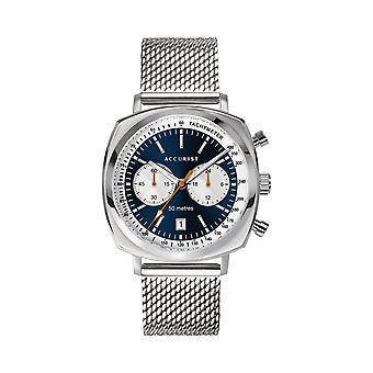 Accurist 7366 Retro Racer acero inoxidable plata y cronógrafo azul reloj masculino