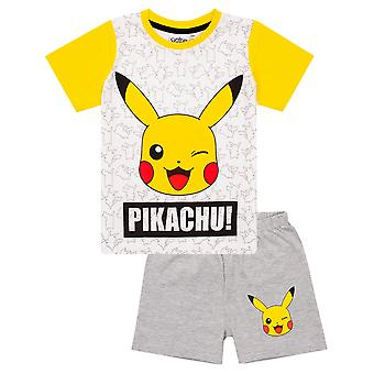 Pokemon Pikachu Face Grey Yellow Boy-apos;s Kids Short Pyjamas Nightwear Set