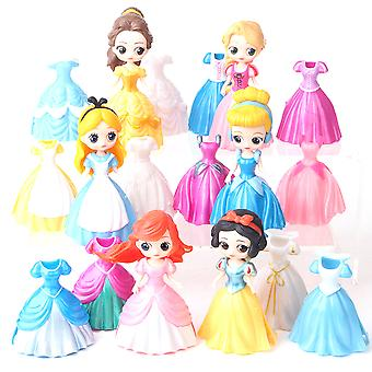 6pcs Princess Figure Toy Changeable Clothes Anime Doll Model