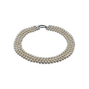 Collana perla Adriana Freshwater 3 file Argento 45 cm V4