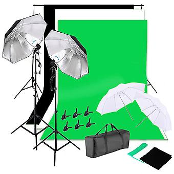 Vamery 135w Silver Black Umbrellas With Background Stand Non-woven Fabric Set (uk Order Only)