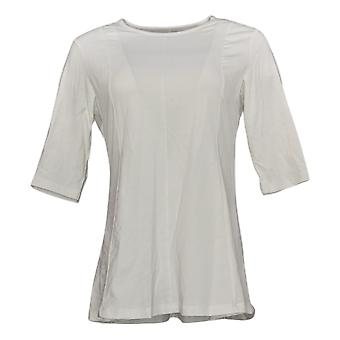 Denim & Co. Women's Petite Top Ballet Sleeve Fit&Flare Tunic White A374657