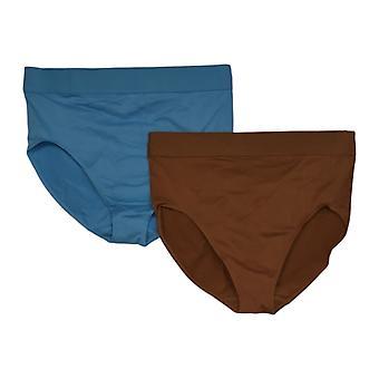Rhonda Shear Panties Women's Reg 2-pack Seamless Waistband Blue 730650