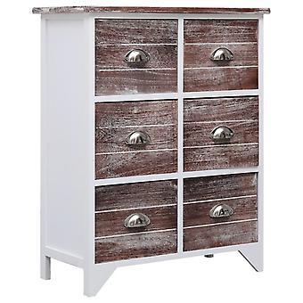 vidaXL armoire à tiroirs 6 tiroirs Marron 60x30x75cm Bois Paulownia