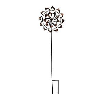 Antique Copper Finish Metal Art Flower Wind Spinner Garden Stake