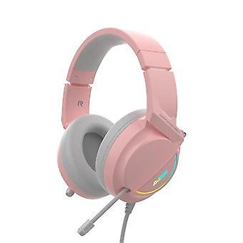 Vaaleanpunainen langallinen pelikuuloke HD-mikrofoni 7.1-kanavainen musiikkikuulokkeet USB-liitäntä LED-valokuulokkeet