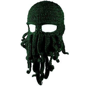 Dunkelgrün Oktopus Hut lustige maskierte handgemachte gehäkelte Wolle warmen Hut az9432