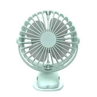 360¡ã USB Rechargeable Mini Cooling Fan Clip On Desk Pram Cot Car Baby Stroller(Green)