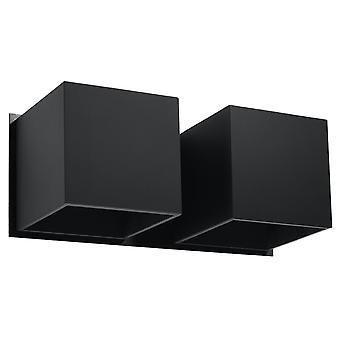 Sollux QUAD SL.0657 Twin Square Upp & Down Wall Lamp Svart G9