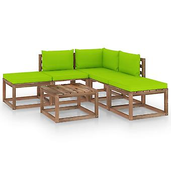 vidaXL 6-tlg. Garten-Lounge-Set mit Hellgrünen Kissen