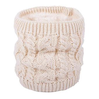 Bufanda caliente en invierno, bufanda de punto para parejas, color puro más bufanda de terciopelo (beige)