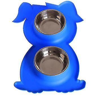 Ruostumaton teräs Double Pet Bowl Koira Kissa Twin Food Water Dish Ruokinta-asema (sininen)