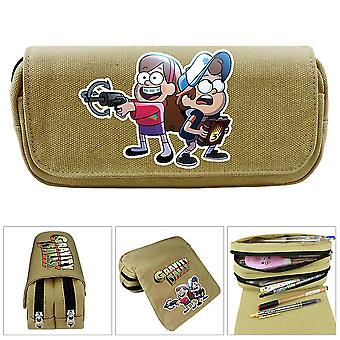 Children's double-layer pencil case in grotesque town large capacity(Color-1)