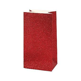 8 kleine 17cm Rode Glitter Paper Party Favor Bags