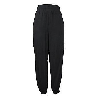 Anybody Women's Pants Cozy Knit Cargo Jogger With Pockets Black A310051