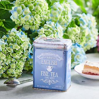 Floral tea tin with 125g loose-leaf earl grey tea