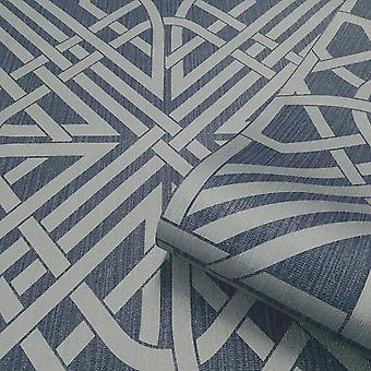Oria Link Navy Silver Wallpaper