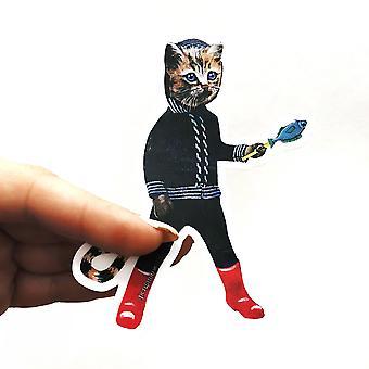 Little Kitten With A Fish Vinyl Sticker