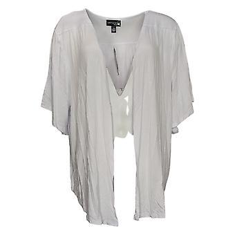 Antthony Women's Sweater Plus Jersey Knit Elbow Slv Cardigan White 747118