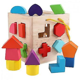 Caraele Shape Sorter Toy, Wooden Building Blocks, Classic Toys For Toddlers Baby Kids19 Holes