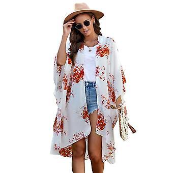 Weiß Orange Floral Kimono Ärmel Chiffon Loose Long Beach Cover Up