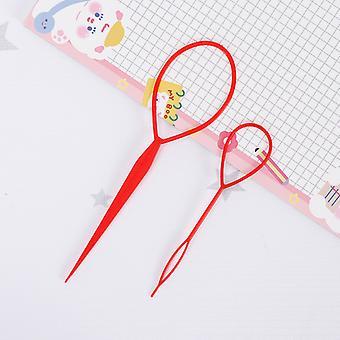 2pcs Outils de queue de cheveux, Accessoires de tresse de cheveux Ponytail Maker, Rose