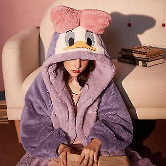 Damer Pyjamas Hooded Pyjamas Plysch Coral Velvet Pyjamas Kvinnors Höst och Vinter Hemtjänst Tecknad Mus Förtjockad Pyjamas