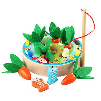 Pull Radish Magnetic Fishing Game Wooden Children Hand Training Early Educational Toys