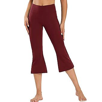 Women Flared Yoga Capri Pants High Waist Pockets Sweatpants