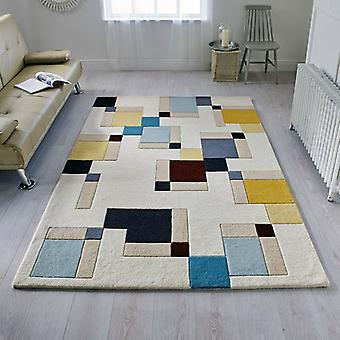 Illusion Abstract Blocks Blue Ochre  Rectangle Rugs Funky Rugs