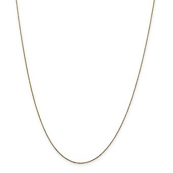 14k Sarı Altın Yay Lı Yüzük .6mm Katı Parıltılı Kesme Kablo Zinciri Kolye - Uzunluk: 14-24