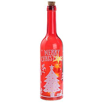 Puckator Christmas Elf Decorative LED Bottle, Red