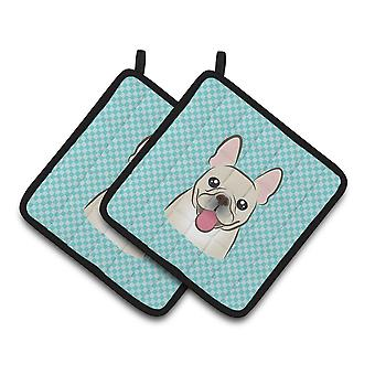 Checkerboard Blue French Bulldog Pair of Pot Holders