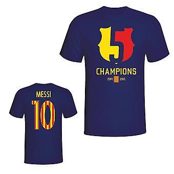 バルセロナ 2015年リオネル ・ メッシ チャンピオン t シャツ (ネイビー)