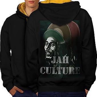 Jah Marley musiikki Rasta miesten musta (Gold Hood) kontrasti huppari takaisin | Wellcoda