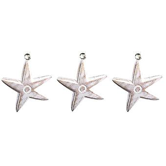 Carved Wooden Whitewashed Wavy Starfish Ornaments Set of 3