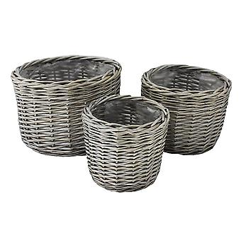 Round Antique Wash Wicker Planter Set 3