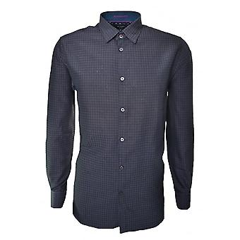 Ted Baker Men's Charcoal Rugbee Check Long Sleeve Shirt