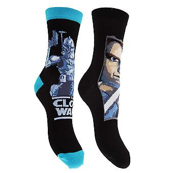 Star Wars Childrens Boys Cotton Rich Clone Wars Design Socks (Pack Of 2)