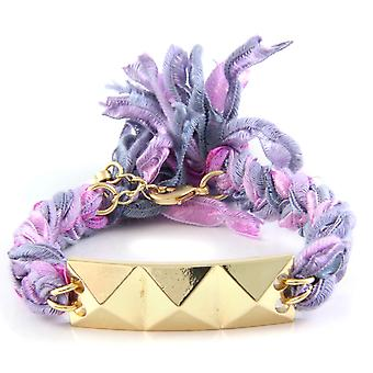Ettika - Bracelet yellow gold pyramid and cotton ribbons braided purples