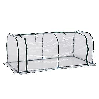 Outsunny Large Transparent PVC Tunnel Greenhouse Green Grow House Steel Frame 200x100x80 cm