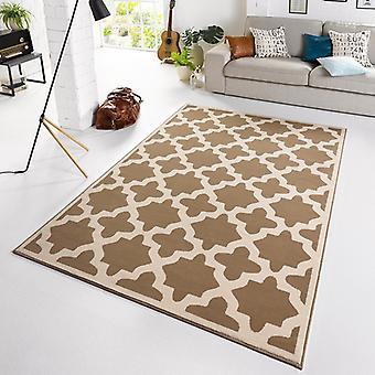 Designer velour carpet noble taupe cream