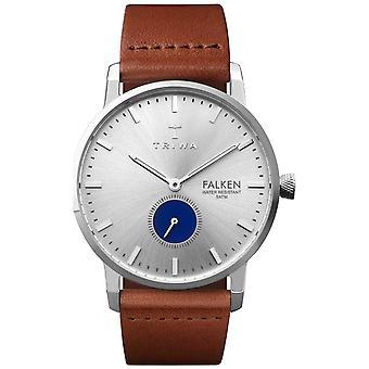 Triwa Mens Blue Eye Falken Brown Leather Strap Silver Dial FAST111-CL010212 Watch