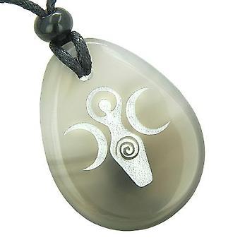 Triple gudinde Celtic Lady velsignelse god held Amulet naturlig agat Totem perle sten halskæde vedhæng