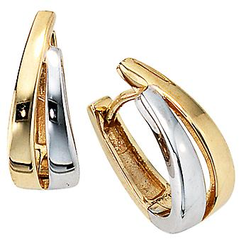 Hoop earrings earrings, 333 / - Gelbgold, part rhodium plated, folding mechanism