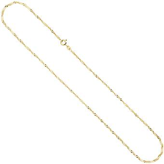 Singapore chain necklace 333 Yellow Gold 1.8 mm 50 cm gold chain spring ring clasp