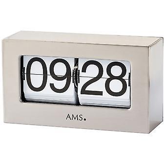 Table clock quartz silver metal folding figures fold-out numbers clock square