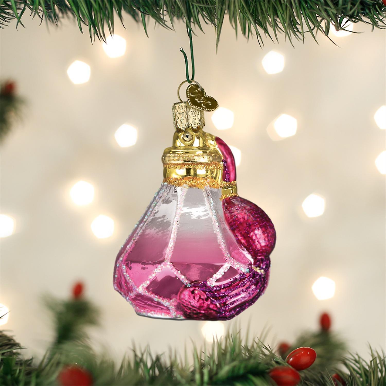 Oude wereld kerst roze parfum fles boom Holiday Ornament glas